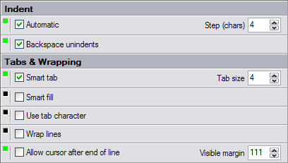 Indent/Tabs/Wrapping settings